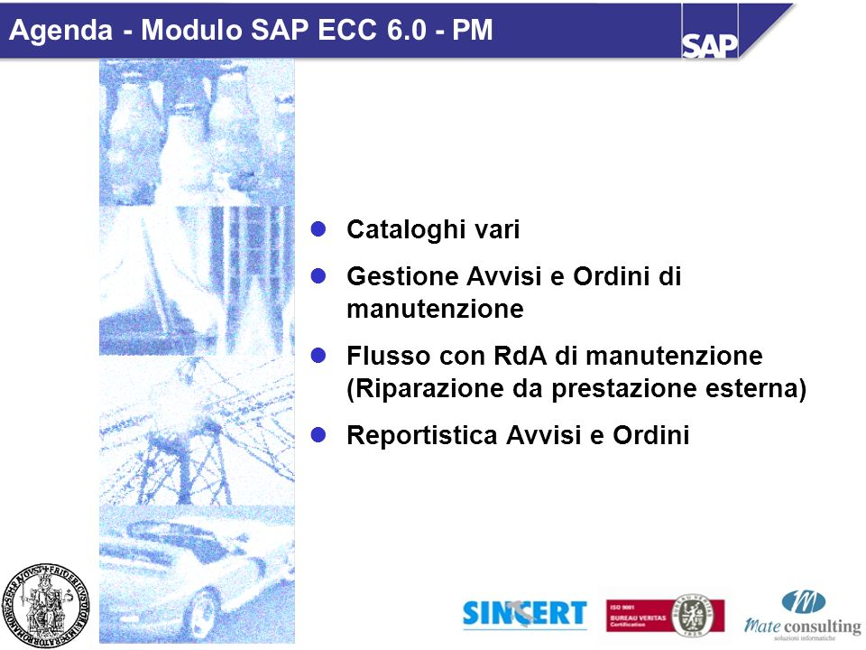 Cataloghi vari Gestione Avvisi e Ordini di manutenzione Flusso con RdA di manutenzione (Riparazione da prestazione esterna) Reportistica Avvisi e Ordini Modulo SAP ECC 6.0 - PM