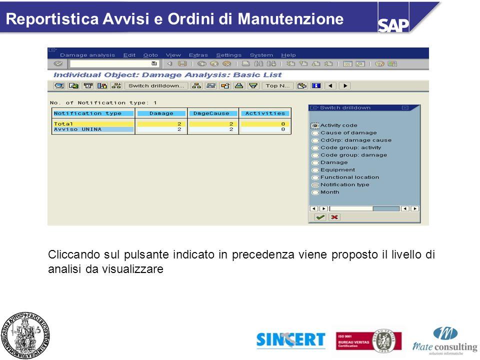 Cliccando sul pulsante indicato in precedenza viene proposto il livello di analisi da visualizzare Reportistica Avvisi e Ordini di Manutenzione