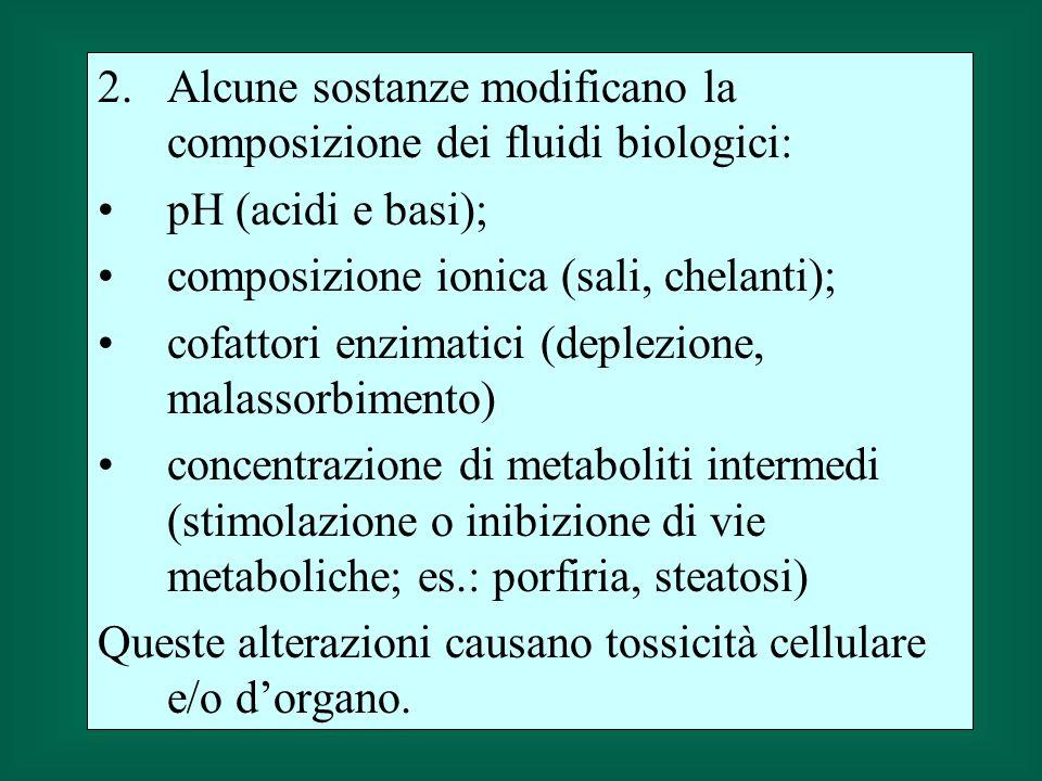 2.Alcune sostanze modificano la composizione dei fluidi biologici: pH (acidi e basi); composizione ionica (sali, chelanti); cofattori enzimatici (deplezione, malassorbimento) concentrazione di metaboliti intermedi (stimolazione o inibizione di vie metaboliche; es.: porfiria, steatosi) Queste alterazioni causano tossicità cellulare e/o dorgano.