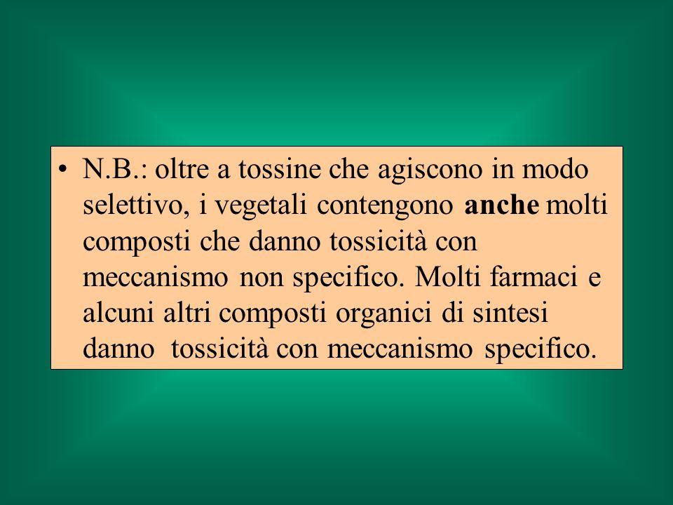 N.B.: oltre a tossine che agiscono in modo selettivo, i vegetali contengono anche molti composti che danno tossicità con meccanismo non specifico. Mol