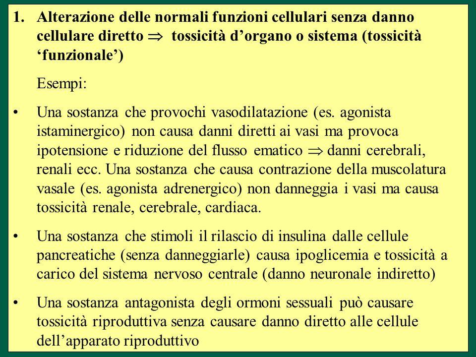 1.Alterazione delle normali funzioni cellulari senza danno cellulare diretto tossicità dorgano o sistema (tossicità funzionale) Esempi: Una sostanza che provochi vasodilatazione (es.