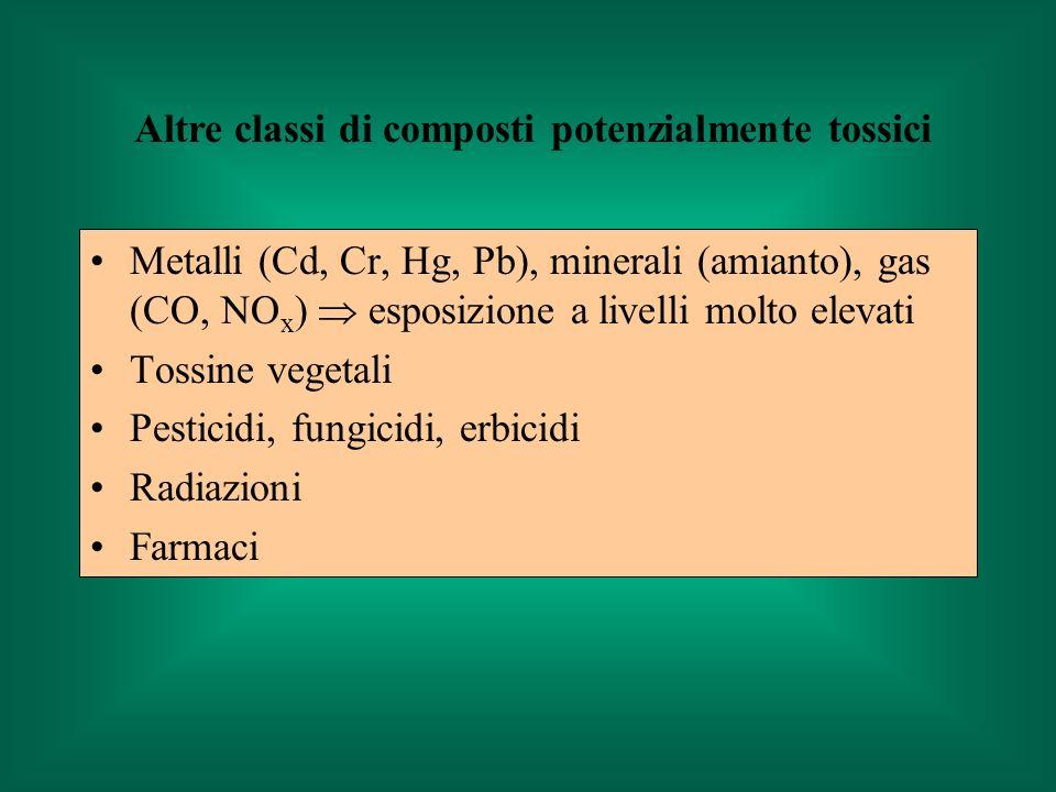 Metalli (Cd, Cr, Hg, Pb), minerali (amianto), gas (CO, NO x ) esposizione a livelli molto elevati Tossine vegetali Pesticidi, fungicidi, erbicidi Radi