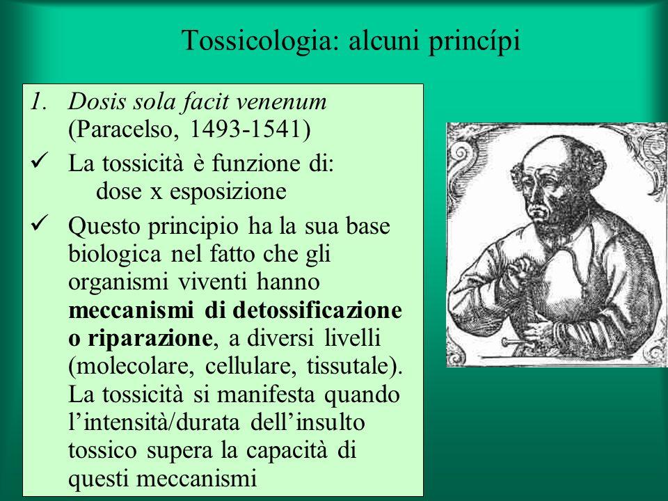 Tossicologia: alcuni princípi 1.Dosis sola facit venenum (Paracelso, 1493-1541) La tossicità è funzione di: dose x esposizione Questo principio ha la sua base biologica nel fatto che gli organismi viventi hanno meccanismi di detossificazione o riparazione, a diversi livelli (molecolare, cellulare, tissutale).