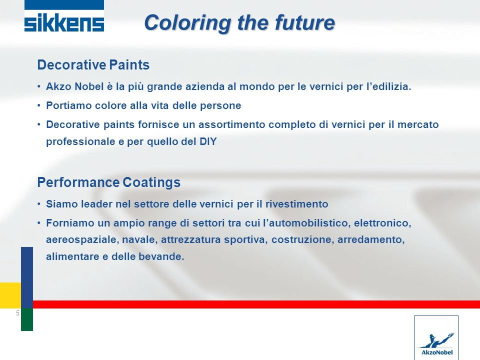5 Coloring the future Decorative Paints Akzo Nobel è la più grande azienda al mondo per le vernici per ledilizia. Portiamo colore alla vita delle pers
