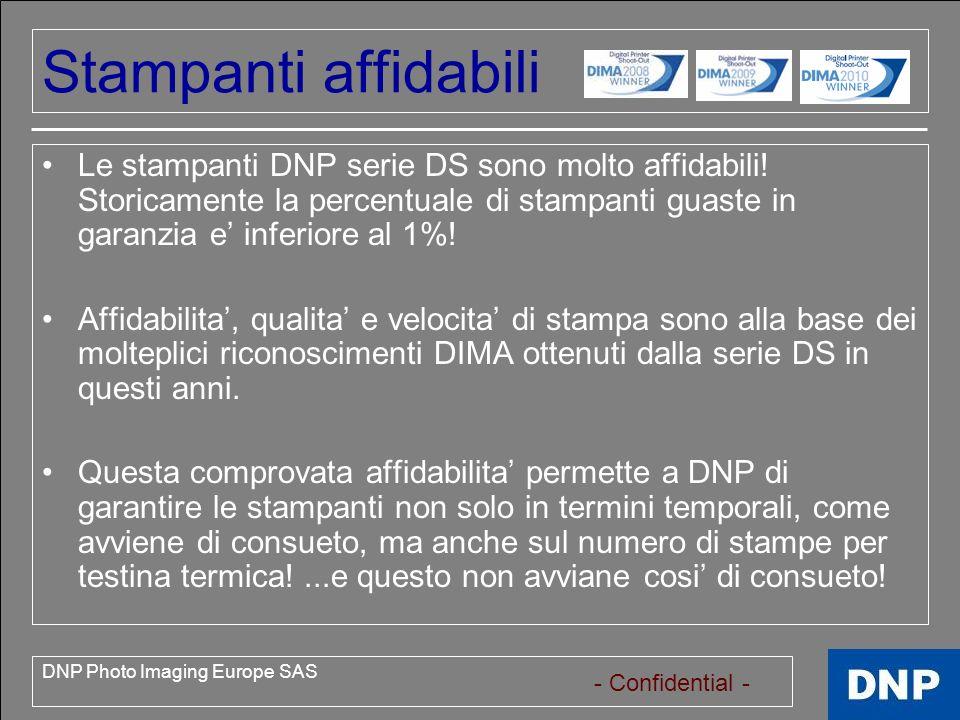 - Confidential - DNP Photo Imaging Europe SAS Garanzia Modelli DS DS40 stampante multiformato (10x15, 13x18, 15x20,15x23) Garanzia: 12 mesi o 40.000 stampe DS80 stampante multiformato (20x25, 20x30) Garanzia: 12 mesi o 6.000 stampe DS-SL20 (Snaplab) Kiosk touch Screen multiformato (10x15, 13x18, 15x20) Garanzia: 12 mesi (Prodotto Nuovo, numero di stampe TBD) DS-RX1 Nuova stampante multiformato Low Cost (10x15, 13x18, 15x20) Garanzia: 12 mesi (Prodotto Nuovo, numero di stampe TBD)