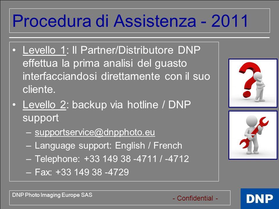 - Confidential - DNP Photo Imaging Europe SAS Procedura di Assistenza - 2011 Riparazioni in Garanzia Diagnosis & return material agreement (RMA) process – Processo di diagnosi e invio del material.