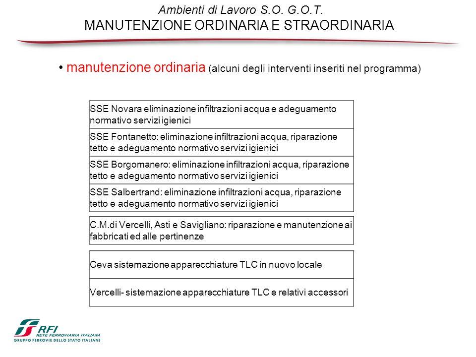 Ambienti di Lavoro S.O. G.O.T. MANUTENZIONE ORDINARIA E STRAORDINARIA SSE Novara eliminazione infiltrazioni acqua e adeguamento normativo servizi igie