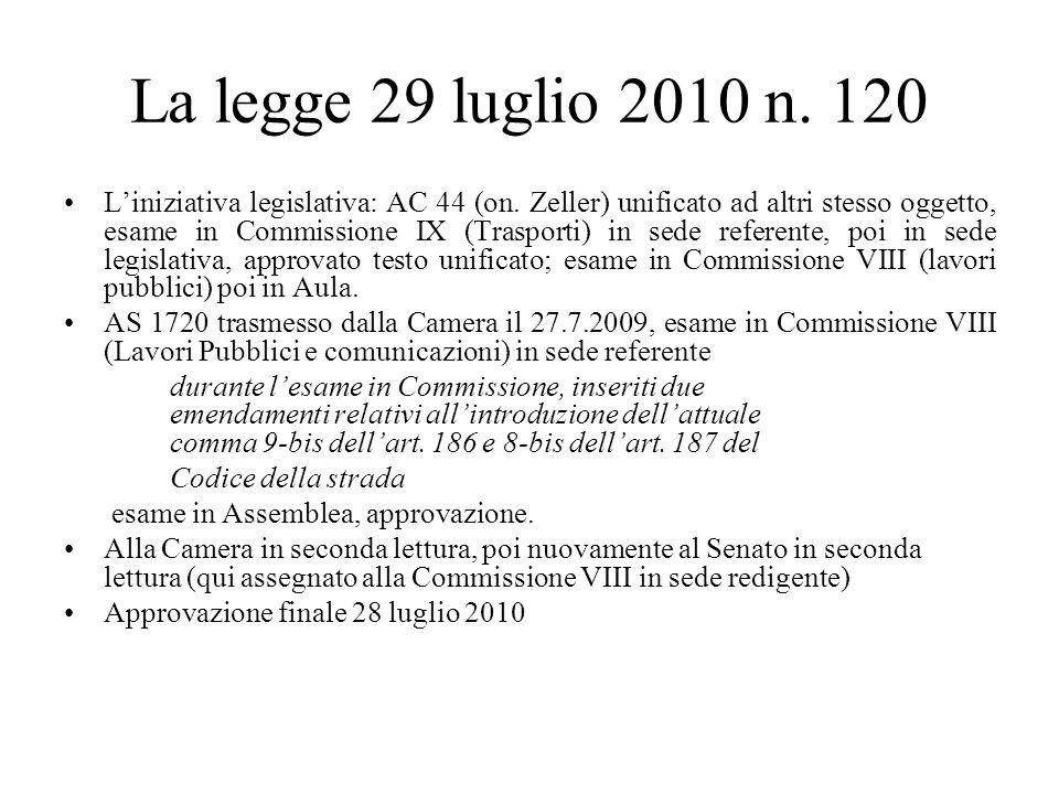La legge 29 luglio 2010 n. 120 Liniziativa legislativa: AC 44 (on.