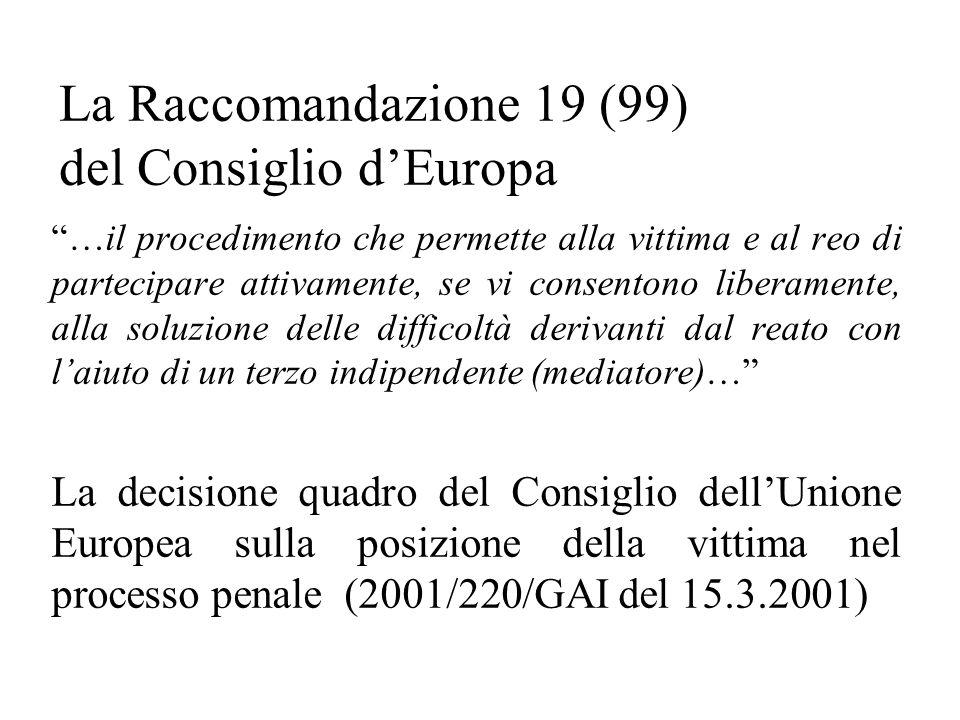 La Raccomandazione 19 (99) del Consiglio dEuropa …il procedimento che permette alla vittima e al reo di partecipare attivamente, se vi consentono liberamente, alla soluzione delle difficoltà derivanti dal reato con laiuto di un terzo indipendente (mediatore)… La decisione quadro del Consiglio dellUnione Europea sulla posizione della vittima nel processo penale (2001/220/GAI del 15.3.2001)