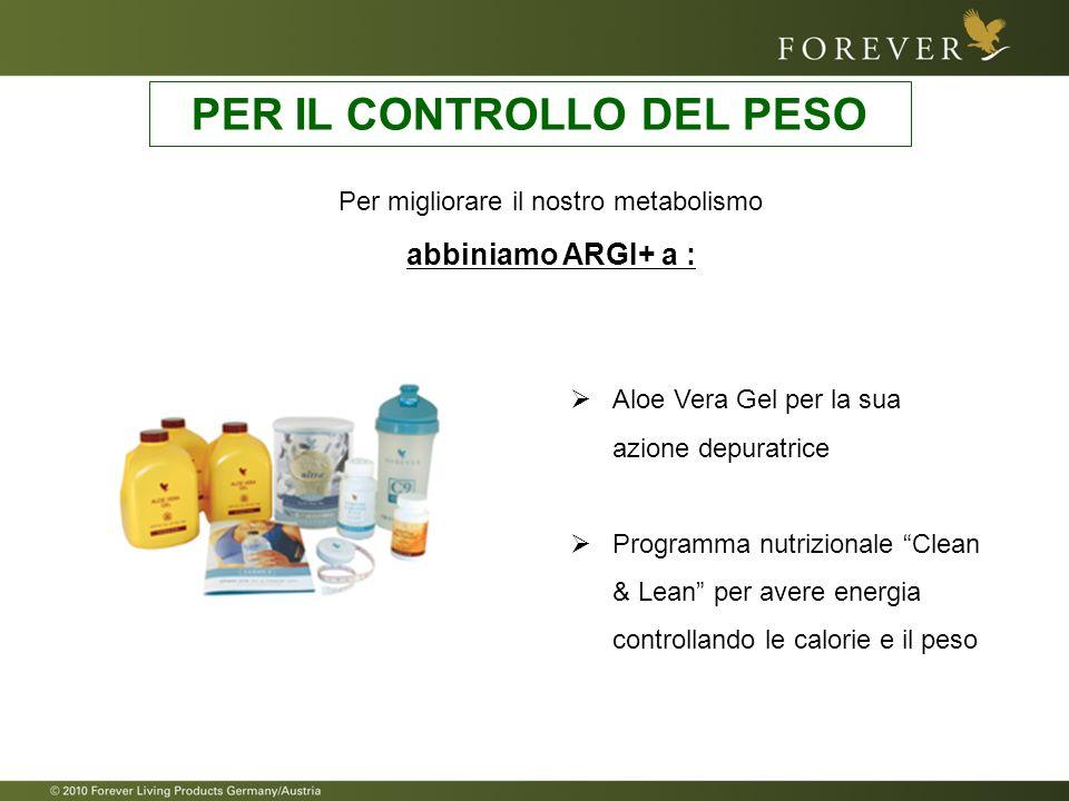 Per migliorare il nostro metabolismo abbiniamo ARGI+ a : PER IL CONTROLLO DEL PESO Aloe Vera Gel per la sua azione depuratrice Programma nutrizionale