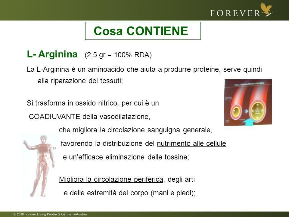 L- Arginina (2,5 gr = 100% RDA) La L-Arginina è un aminoacido che aiuta a produrre proteine, serve quindi alla riparazione dei tessuti; Si trasforma i