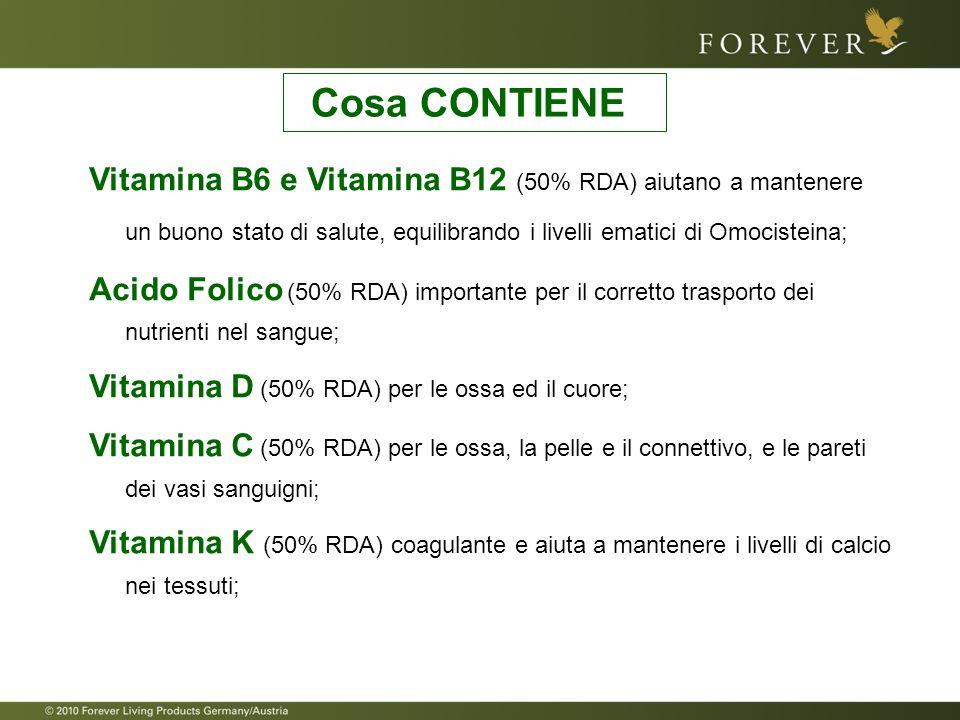 Vitamina B6 e Vitamina B12 (50% RDA) aiutano a mantenere un buono stato di salute, equilibrando i livelli ematici di Omocisteina; Acido Folico (50% RD