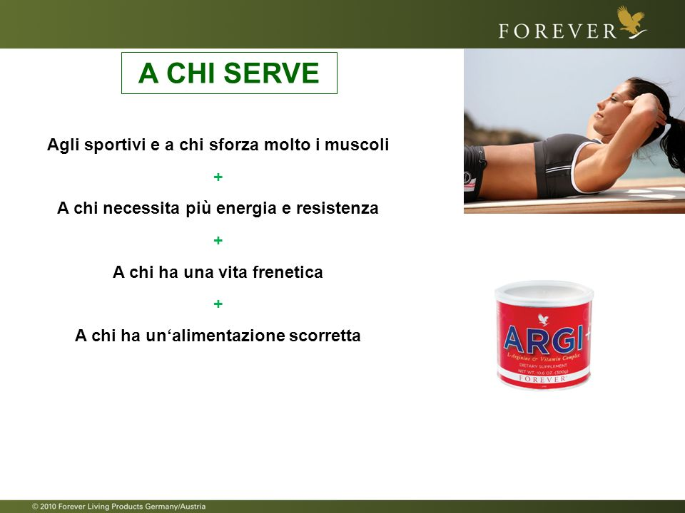 Agli sportivi e a chi sforza molto i muscoli + A chi necessita più energia e resistenza + A chi ha una vita frenetica + A chi ha unalimentazione scorr