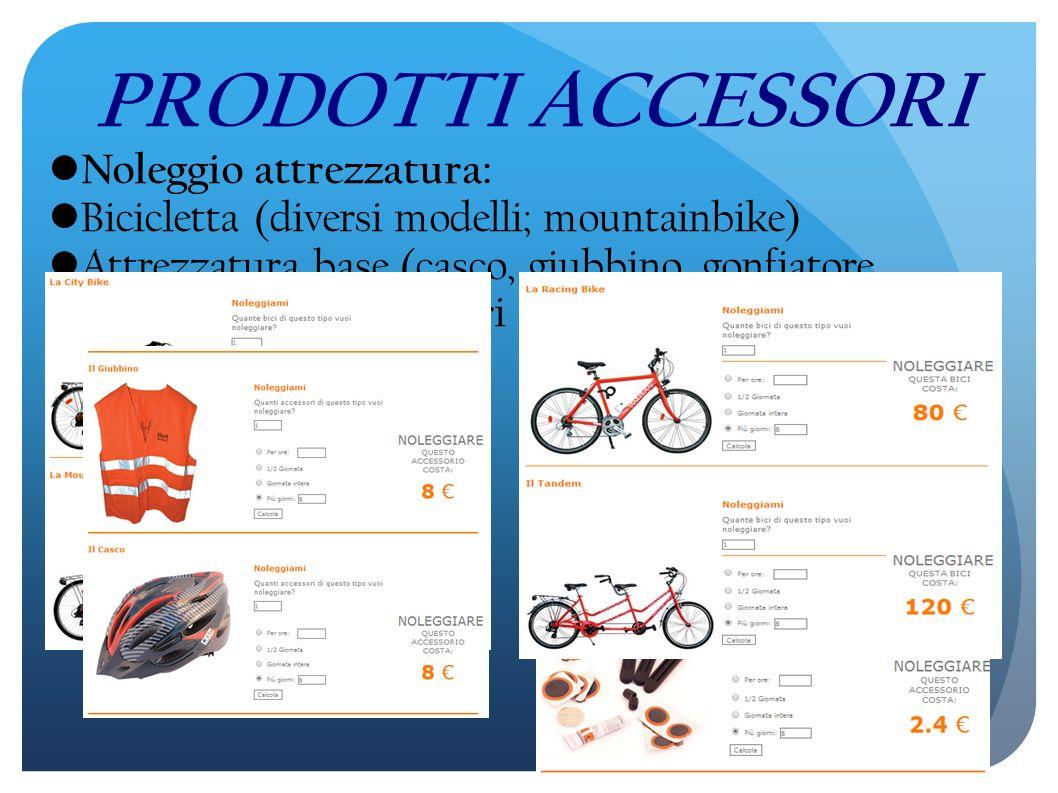 PRODOTTI ACCESSORI Noleggio attrezzatura: Bicicletta (diversi modelli; mountainbike) Attrezzatura base (casco, giubbino, gonfiatore manuale, contachilometri e kit riparazione)