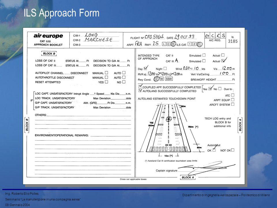Ing. Roberto Elio Polles Seminario La manutenzione in una compagnia aerea 09 Gennaio 2004 Dipartimento di Ingegneria Aerospaziale – Politecnico di Mil