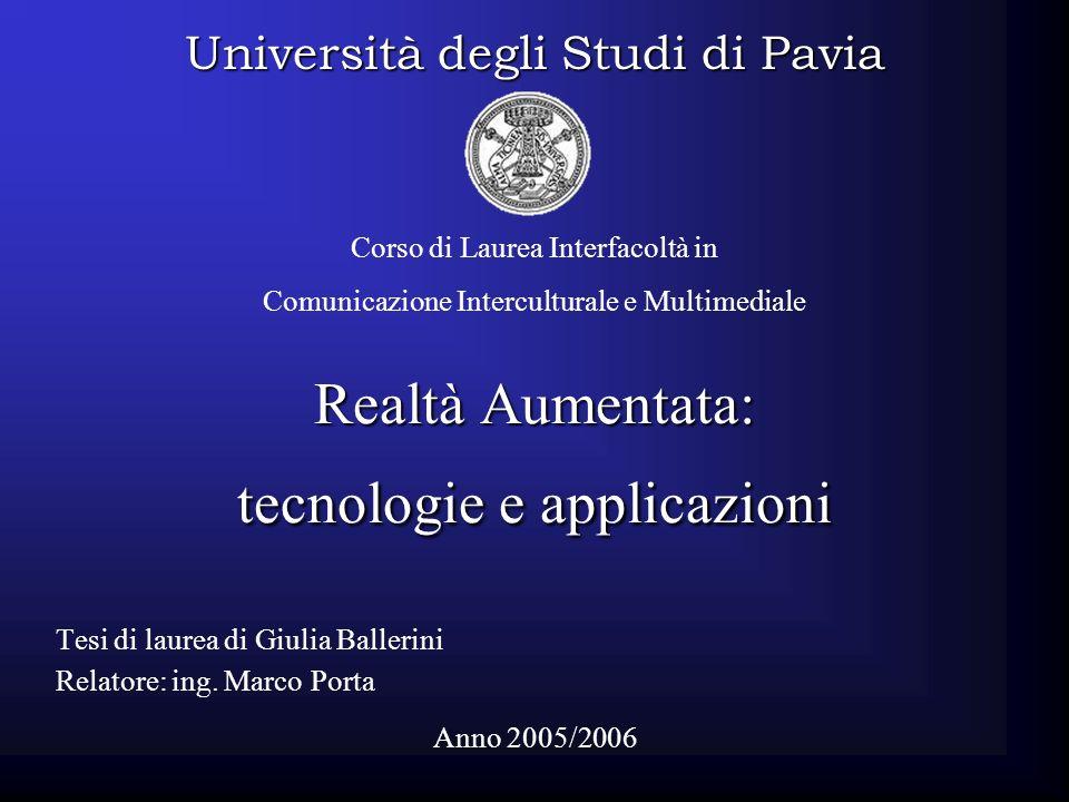 Realtà Aumentata: tecnologie e applicazioni Tesi di laurea di Giulia Ballerini Relatore: ing. Marco Porta Università degli Studi di Pavia Anno 2005/20