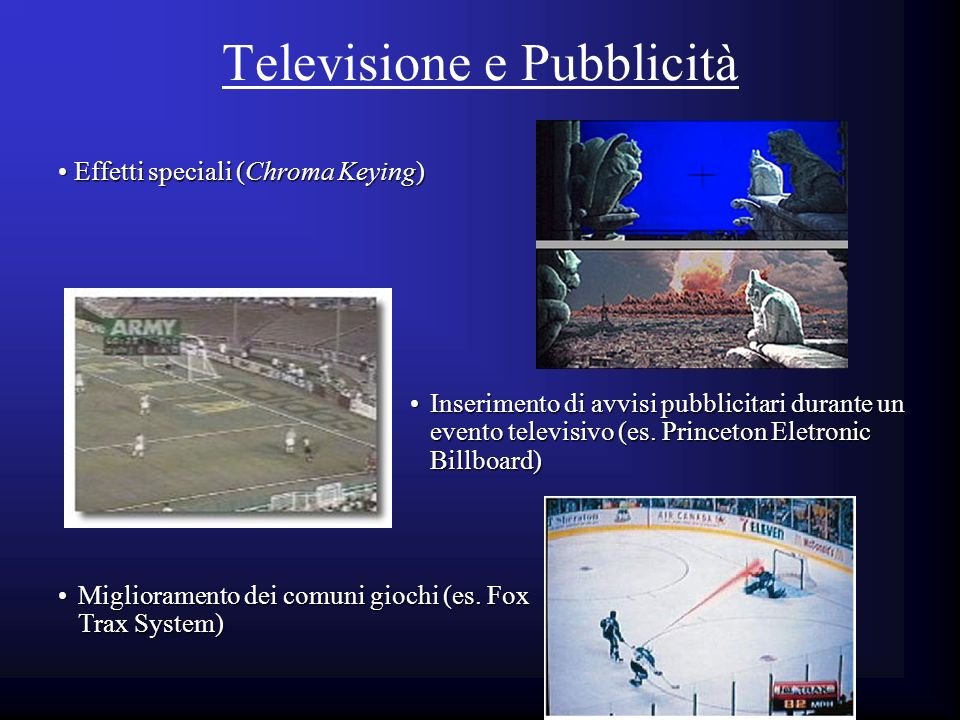 Televisione e Pubblicità Inserimento di avvisi pubblicitari durante un evento televisivo (es. Princeton Eletronic Billboard)Inserimento di avvisi pubb