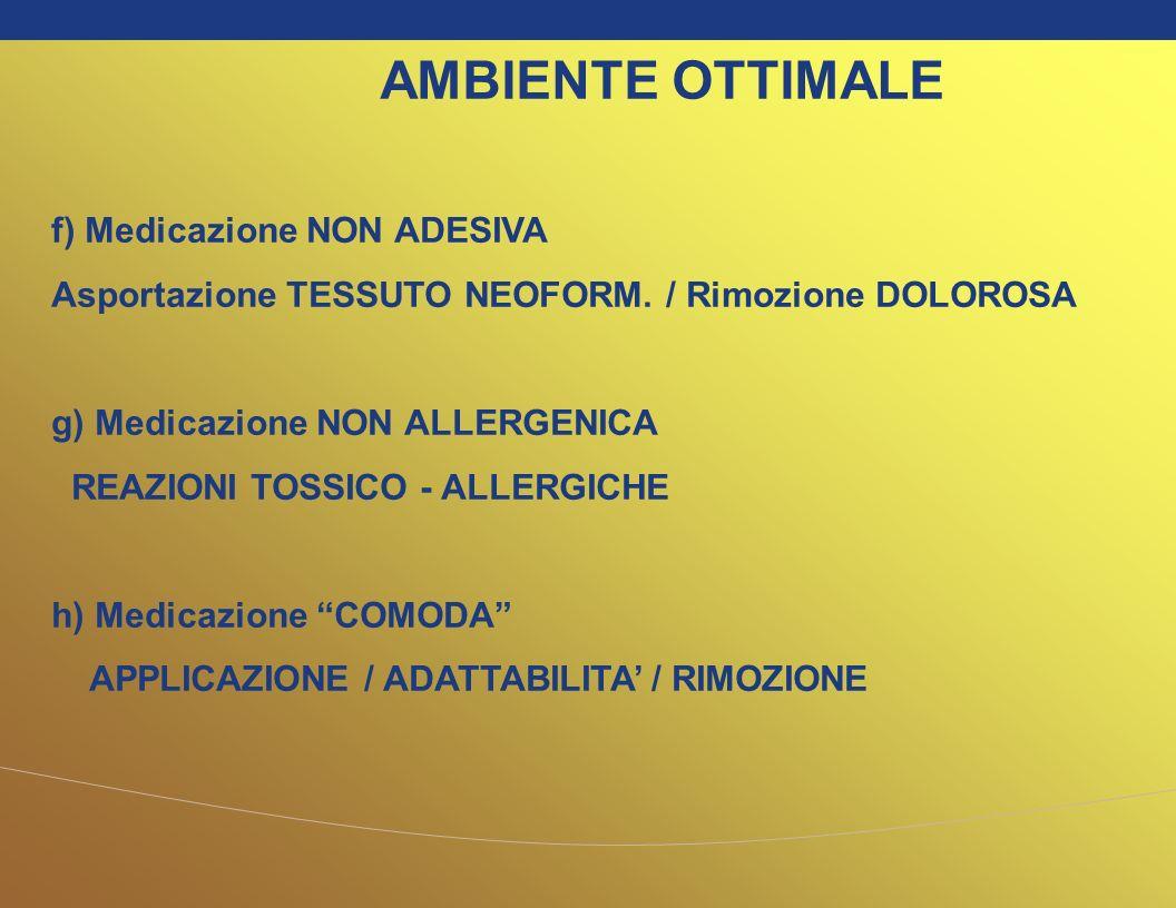 f) Medicazione NON ADESIVA Asportazione TESSUTO NEOFORM. / Rimozione DOLOROSA g) Medicazione NON ALLERGENICA REAZIONI TOSSICO - ALLERGICHE h) Medicazi