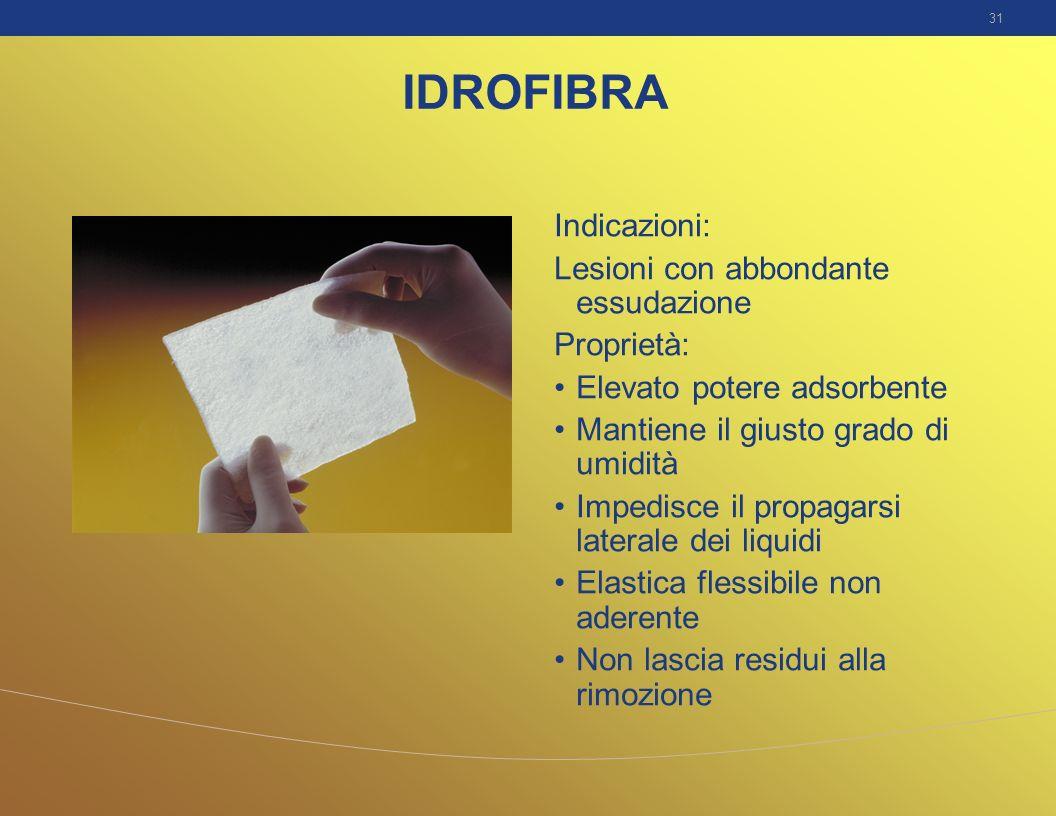 31 IDROFIBRA Indicazioni: Lesioni con abbondante essudazione Proprietà: Elevato potere adsorbente Mantiene il giusto grado di umidità Impedisce il pro