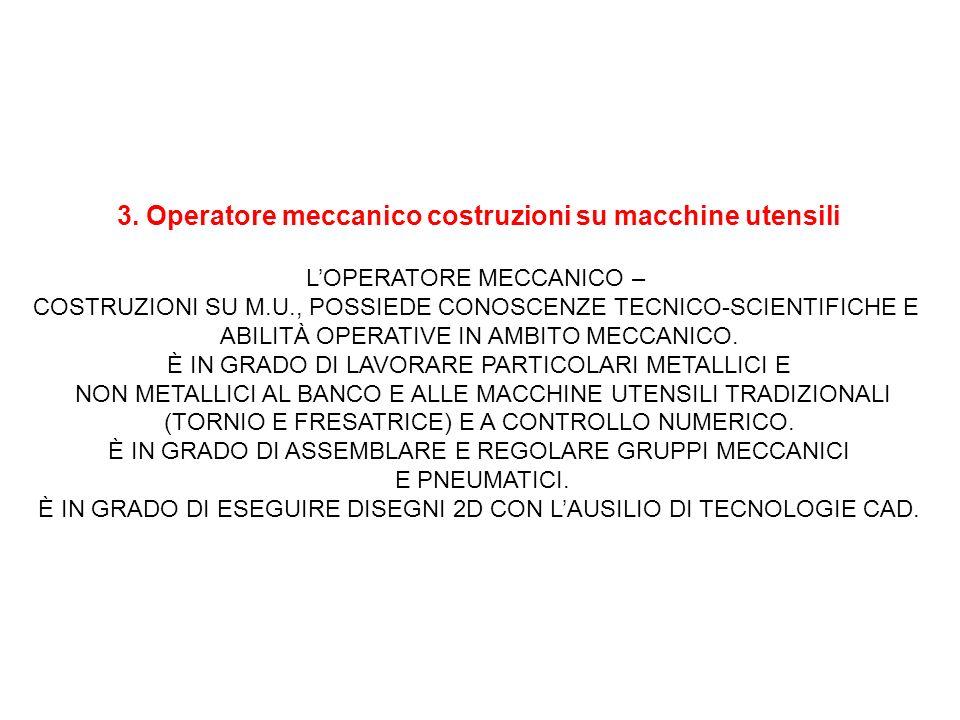 3. Operatore meccanico costruzioni su macchine utensili LOPERATORE MECCANICO – COSTRUZIONI SU M.U., POSSIEDE CONOSCENZE TECNICO-SCIENTIFICHE E ABILITÀ