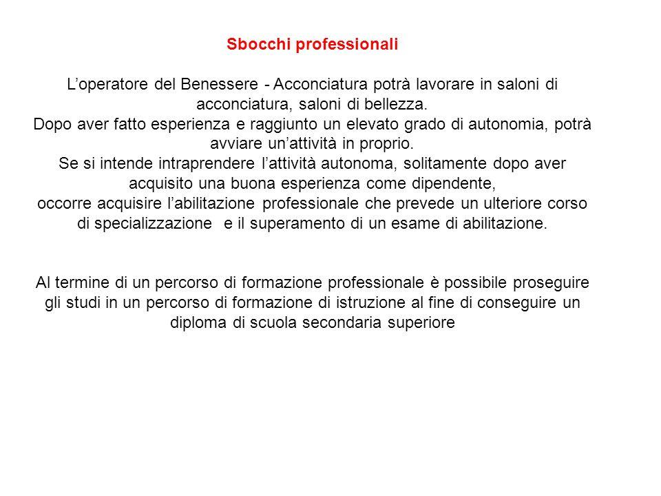 Sbocchi professionali Loperatore del Benessere - Acconciatura potrà lavorare in saloni di acconciatura, saloni di bellezza.