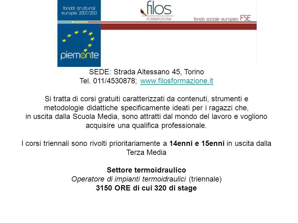 SEDE: Strada Altessano 45, Torino Tel.