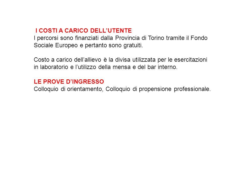 I COSTI A CARICO DELLUTENTE I percorsi sono finanziati dalla Provincia di Torino tramite il Fondo Sociale Europeo e pertanto sono gratuiti.