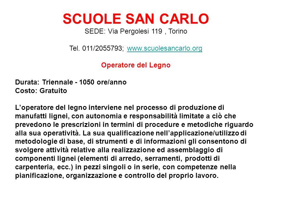 SCUOLE SAN CARLO SEDE: Via Pergolesi 119, Torino Tel.