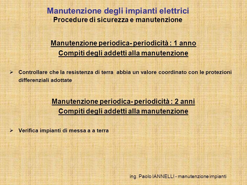 ing. Paolo IANNELLI - manutenzione impianti Manutenzione periodica- periodicità : 1 anno Compiti degli addetti alla manutenzione Controllare che la re