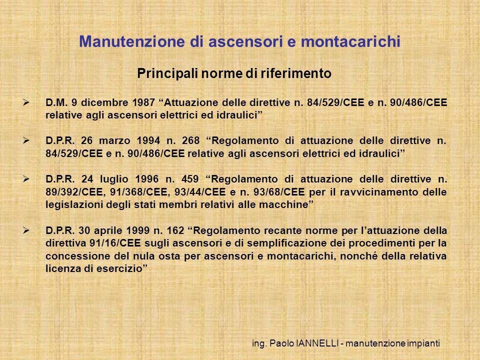 ing. Paolo IANNELLI - manutenzione impianti Principali norme di riferimento D.M. 9 dicembre 1987 Attuazione delle direttive n. 84/529/CEE e n. 90/486/