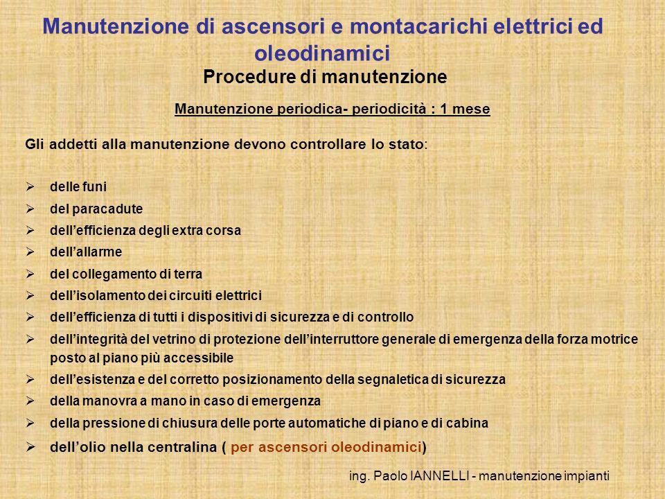 ing. Paolo IANNELLI - manutenzione impianti Manutenzione periodica- periodicità : 1 mese Gli addetti alla manutenzione devono controllare lo stato: de