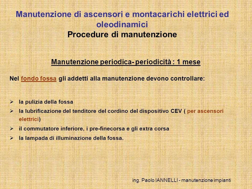 ing. Paolo IANNELLI - manutenzione impianti Manutenzione periodica- periodicità : 1 mese Nel fondo fossa gli addetti alla manutenzione devono controll