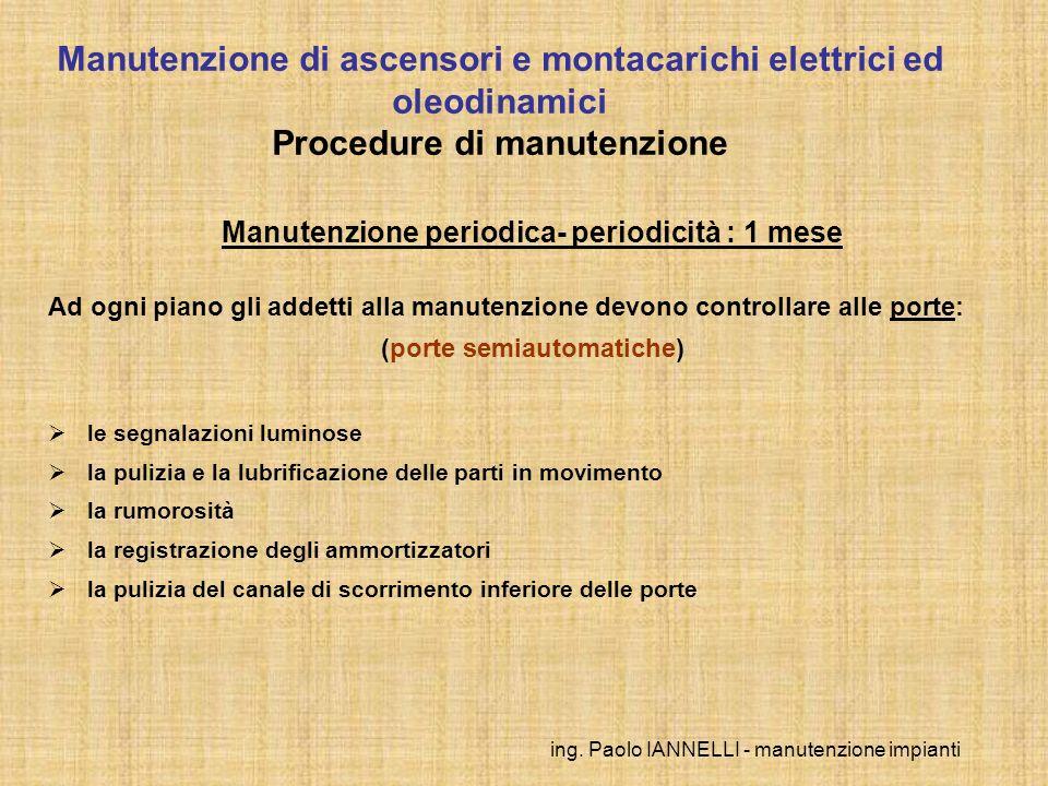 ing. Paolo IANNELLI - manutenzione impianti Manutenzione periodica- periodicità : 1 mese Ad ogni piano gli addetti alla manutenzione devono controllar