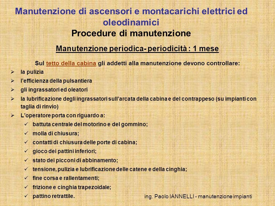 ing. Paolo IANNELLI - manutenzione impianti Manutenzione periodica- periodicità : 1 mese Sul tetto della cabina gli addetti alla manutenzione devono c
