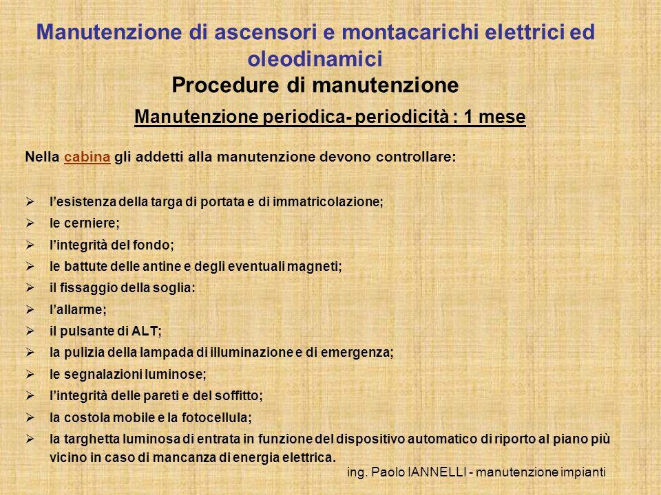 ing. Paolo IANNELLI - manutenzione impianti Manutenzione periodica- periodicità : 1 mese Nella cabina gli addetti alla manutenzione devono controllare