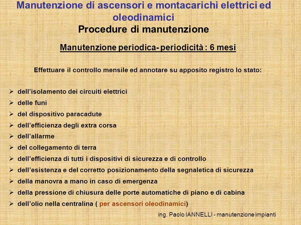 ing. Paolo IANNELLI - manutenzione impianti Manutenzione periodica- periodicità : 6 mesi Effettuare il controllo mensile ed annotare su apposito regis