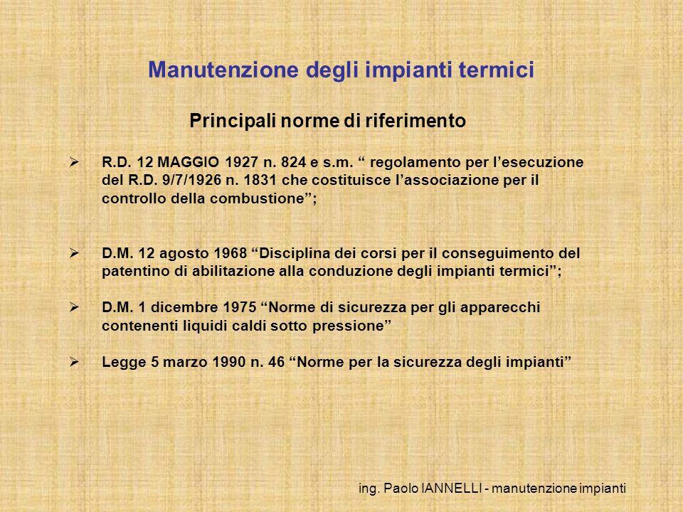ing. Paolo IANNELLI - manutenzione impianti Manutenzione degli impianti termici Principali norme di riferimento R.D. 12 MAGGIO 1927 n. 824 e s.m. rego