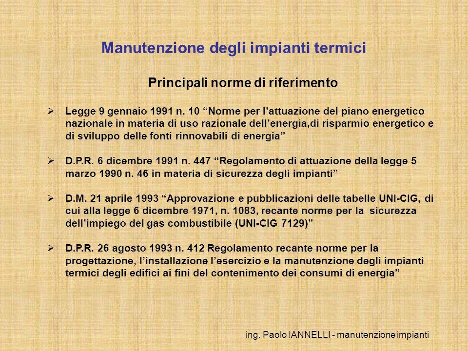 ing. Paolo IANNELLI - manutenzione impianti Manutenzione degli impianti termici Principali norme di riferimento Legge 9 gennaio 1991 n. 10 Norme per l
