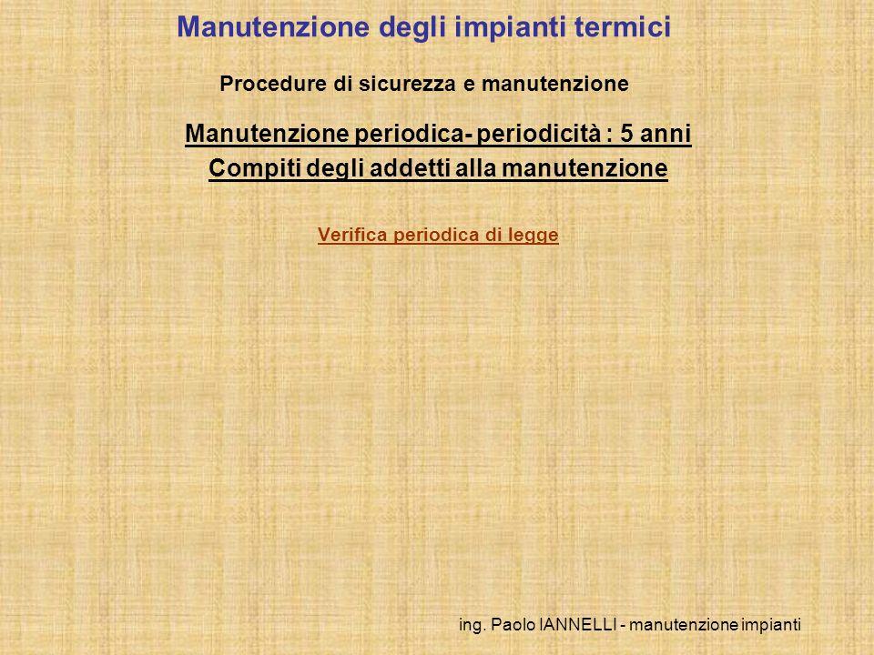 ing. Paolo IANNELLI - manutenzione impianti Manutenzione degli impianti termici Procedure di sicurezza e manutenzione Manutenzione periodica- periodic