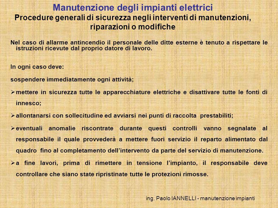 ing.Paolo IANNELLI - manutenzione impianti Principali norme di riferimento D.M.