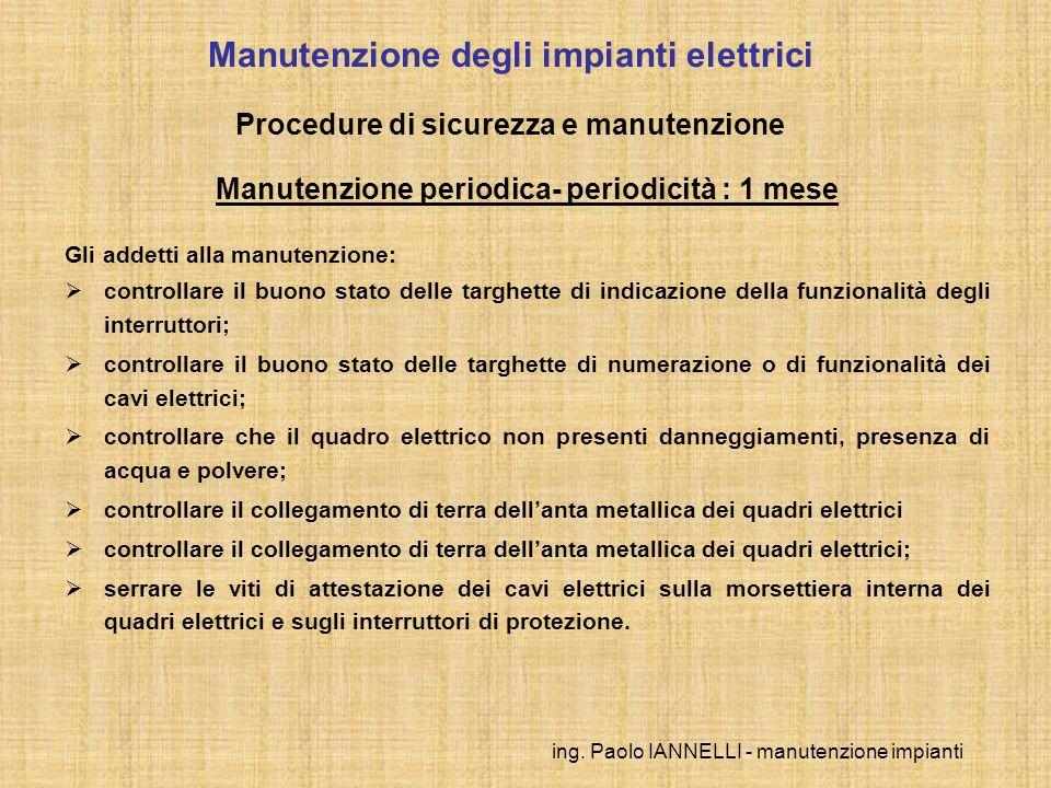 ing. Paolo IANNELLI - manutenzione impianti Manutenzione degli impianti elettrici Procedure di sicurezza e manutenzione Manutenzione periodica- period