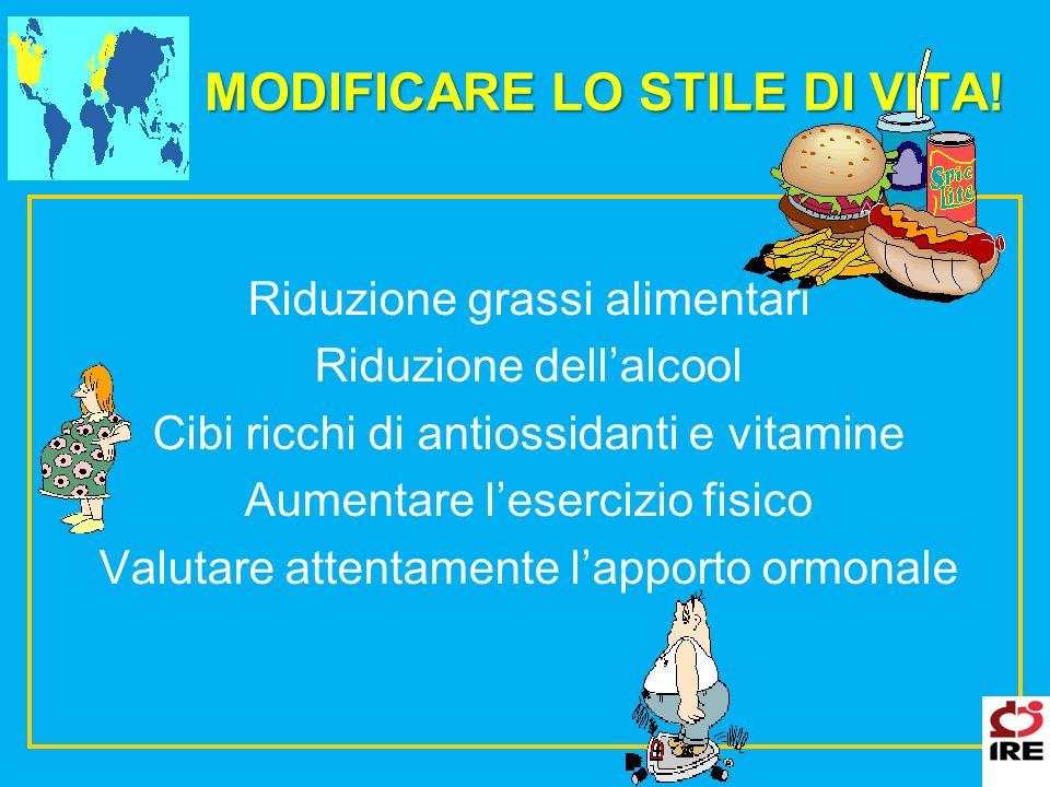 MODIFICARE LO STILE DI VITA! Riduzione grassi alimentari Riduzione dellalcool Cibi ricchi di antiossidanti e vitamine Aumentare lesercizio fisico Valu