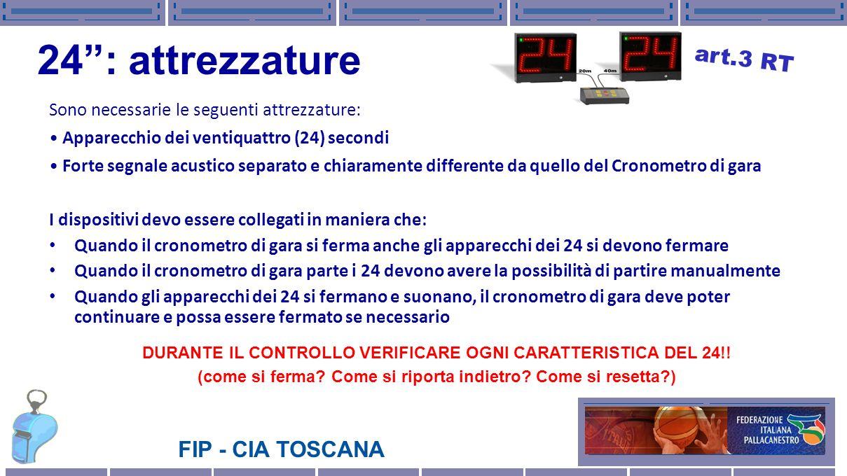 FIP - CIA TOSCANA 24: attrezzature Sono necessarie le seguenti attrezzature: Apparecchio dei ventiquattro (24) secondi Forte segnale acustico separato
