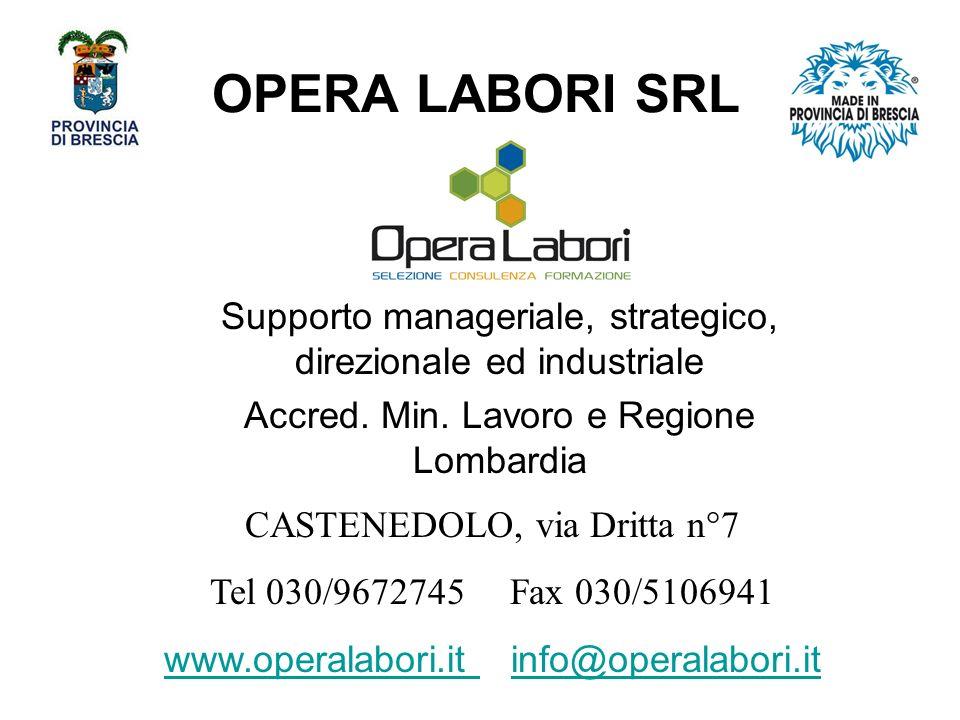 OPERA LABORI SRL Supporto manageriale, strategico, direzionale ed industriale Accred.