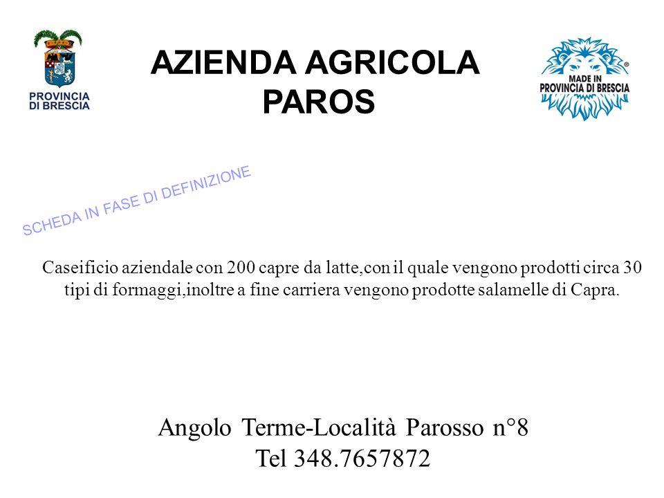 AZIENDA AGRICOLA PAROS Angolo Terme-Località Parosso n°8 Tel 348.7657872 Caseificio aziendale con 200 capre da latte,con il quale vengono prodotti circa 30 tipi di formaggi,inoltre a fine carriera vengono prodotte salamelle di Capra.