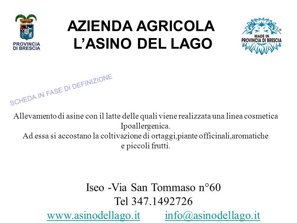 AZIENDA AGRICOLA LASINO DEL LAGO Iseo -Via San Tommaso n°60 Tel 347.1492726 www.asinodellago.iwww.asinodellago.it info@asinodellago.itinfo@asinodellago.it Allevamento di asine con il latte delle quali viene realizzata una linea cosmetica Ipoallergenica.