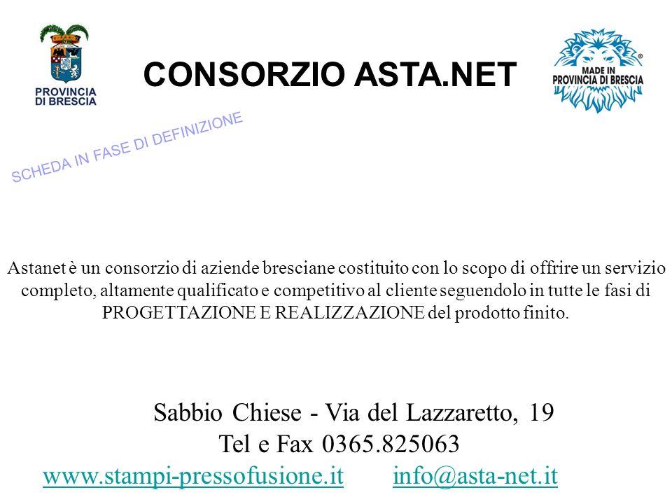CONSORZIO ASTA.NET Sabbio Chiese - Via del Lazzaretto, 19 Tel e Fax 0365.825063 www.stampi-pressofusione.itwww.stampi-pressofusione.it info@asta-net.itinfo@asta-net.it Astanet è un consorzio di aziende bresciane costituito con lo scopo di offrire un servizio completo, altamente qualificato e competitivo al cliente seguendolo in tutte le fasi di PROGETTAZIONE E REALIZZAZIONE del prodotto finito.
