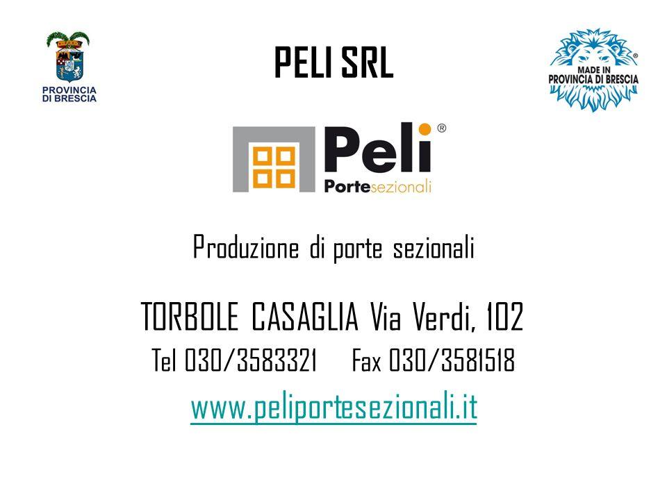 PELI SRL Produzione di porte sezionali TORBOLE CASAGLIA Via Verdi, 102 Tel 030/3583321Fax 030/3581518 www.peliportesezionali.it