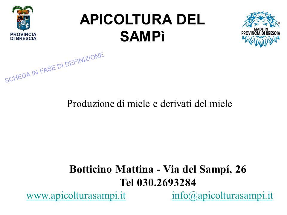 APICOLTURA DEL SAMPì Produzione di miele e derivati del miele Botticino Mattina - Via del Sampí, 26 Tel 030.2693284 www.apicolturasampi.it info@apicolturasampi.itwww.apicolturasampi.it SCHEDA IN FASE DI DEFINIZIONE