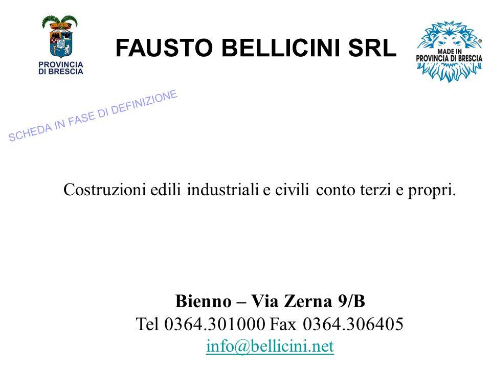 FAUSTO BELLICINI SRL Costruzioni edili industriali e civili conto terzi e propri.
